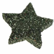 Star glitter green 2,5cm 48pcs