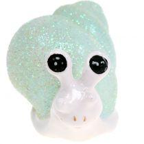 Decoration figure snail glitter mint / pink 8cm 6pcs