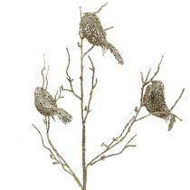Glittering branch with birds 75cm gold