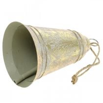 Christmas bell to hang, Advent, bell with fir decoration golden antique look Ø10.5cm H17cm