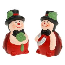 Lucky charm ceramic beetle 6cm red 12pcs