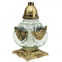 Grave light glass with rose pattern 14cm x 14cm H27cm 2pcs