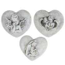 Grave jewelry hearts with angels 9cm 3pcs