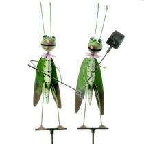 Grasshopper garden plug metal green H114cm 2pcs