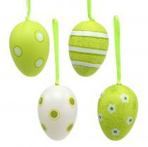 Hanger plastic eggs green 6cm 12pcs