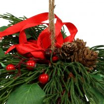 Christmas hanging decoration with cones and berries 16cm