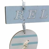 Flip flops for hanging Wood Light blue 23 × 14cm 6pcs