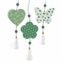 Hanging decoration heart flower butterfly white, green wood spring decoration 6pcs