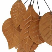 Decorative hanger autumn leaves patina metal H25cm 2pcs