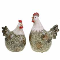 Decorative figures hen and rooster gray, white, red 10.2cm x 7cm H12.7cm 2pcs