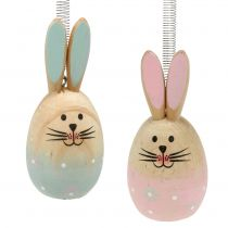 Rabbit with feather for hanging Pink, Blue 9cm - 9,5cm