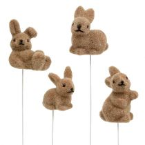 Bunny flocked on wire brown 4cm - 6cm 12pcs