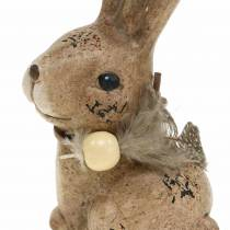 Decorative figures rabbits with feather and wooden pearl brown assorted 7cm x 4.9cm H 10cm 2pcs