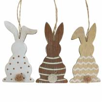 Easter bunny for hanging cream, brown, natural wood assorted H11,5cm 6pcs
