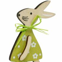 Wooden bunny on the stick green / yellow / pink stick 8 cm 12 pieces bouquet decoration