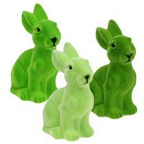 Hare flocked 20cm green 3pcs