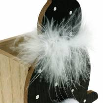 Bunny planter box feather boa black, white dotted wooden Easter bunny