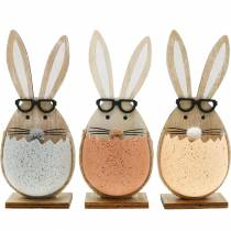 Wooden rabbit in an egg, spring decoration, rabbits with glasses, Easter bunnies 3pcs