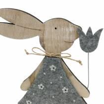deco figurine wood bunny Felt 30 / 31,5cm 2pcs