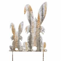 Easter Bunnies Garden Décor Rust Birch-look Metal 25×32cm