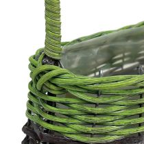 Handle basket oval 23cm x 12cm H16cm green-brown