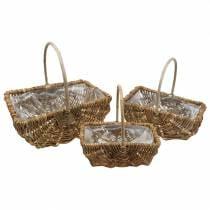 Rectangular handle basket natural 34 × 26/29 × 20/24 × 15cm, set of 3