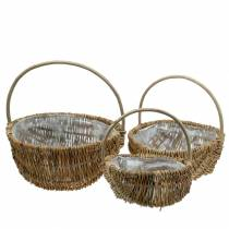 Handle basket Round Natural Ø32/28/22cm Set of 3
