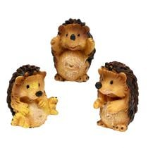 Autumn decoration hedgehog mix 6cm Brown 6pcs
