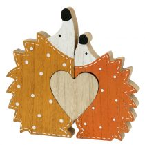 Autumn decoration hedgehog pair with heart 15cm - 18cm