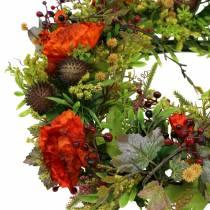 Autumn wreath poppy, physalis orange Ø36cm