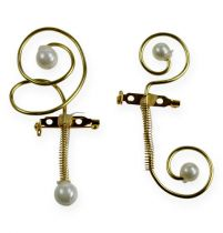 Wedding pin with pearls, gold 8cm 24pcs
