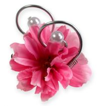 Wedding pin with pearls, silver 8cm 24pcs