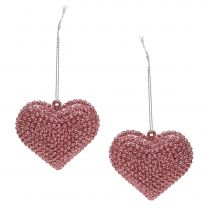 Pink heart for hanging with mica 6,5cm x 6,5cm 12pcs
