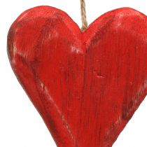 Wooden Hearts Hanging Red, White 11,5cm 4pcs