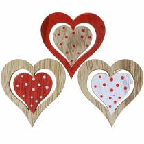 Heart red, white, natural assorted wood 4,5x4,5cm 24pcs