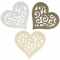 Table decoration heart wood white / cream / brown 4cm 72 pieces