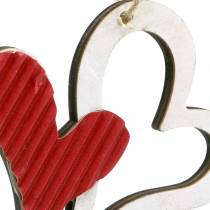 Heart pendant made of wood red, white 8cm 24pcs