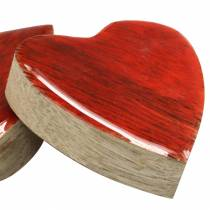 Hearts made of mango wood glazed natural, red 4.3cm × 4.6cm 16p