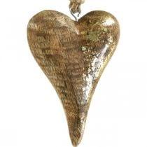 Wooden hearts with gold decor, mango wood, decorative pendants 10cm × 7cm 8pcs