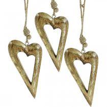 Deco heart, mango wood gold effect, wood decoration to hang 13.5cm × 7cm 4pcs