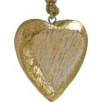 Hearts to hang, mango wood, wood decoration with gold effect 8.5cm × 8cm 6pcs