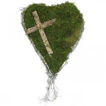 Grave decoration heart vines, moss with cross for grave arrangement 30 × 20cm