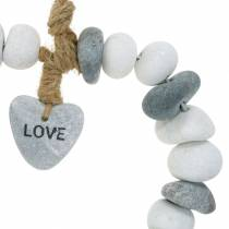 """Heart to hang """"Love"""" made of river pebbles Nature, gray / white Ø18cm 1 pc"""