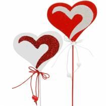 Heart on the stick red, white Dekoherz flower pick Valentine's Day 16pcs