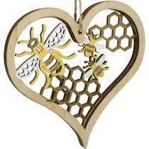 Decorative heart bees yellow, golden wood heart for hanging summer decoration 6pcs