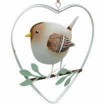 Heart pendant with sparrows, spring decoration, metal heart, Valentine's Day, bird heart 4pcs