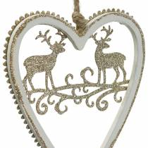 Hearts to hang with inlay wood, plastic white, golden, Ø9.2cm H12cm 4pcs
