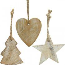 Wooden pendants, fir / heart / star, Christmas decoration set H7.5 / 8cm 9pcs