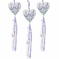 Heart with lavender motif to hang, wedding, Mediterranean summer decoration, Valentine's Day, lavender heart 4pcs