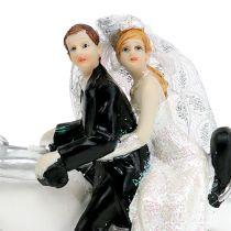 Wedding figure newlyweds on motorcycle 9 cm